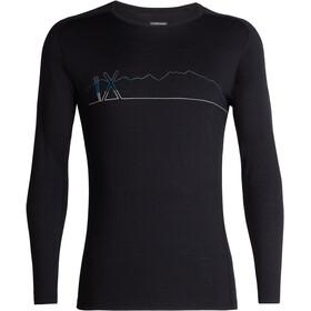 Icebreaker M's 200 Oasis Deluxe Raglan Single Line Ski LS Crewe Shirt Black
